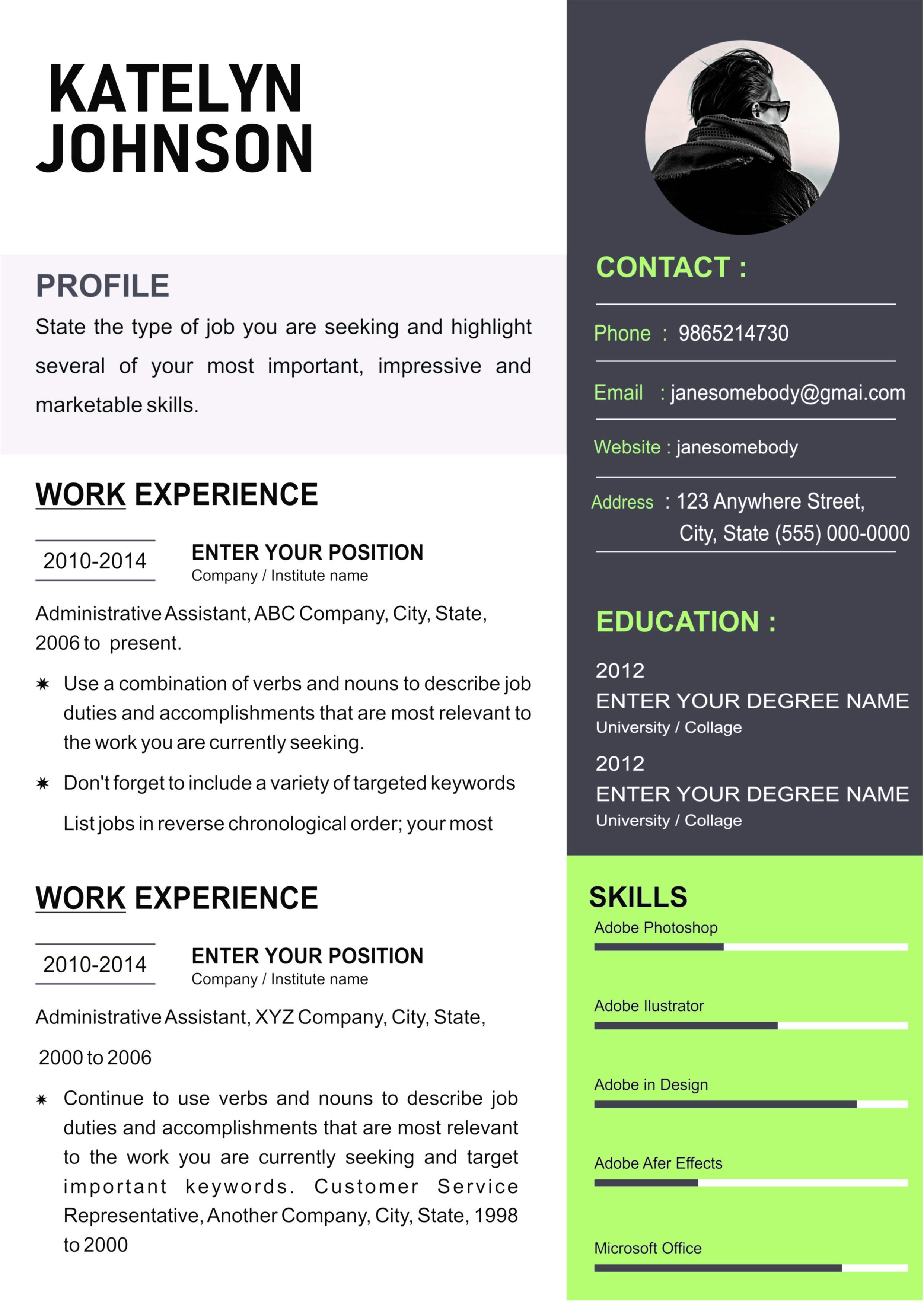 Resume Green Grey